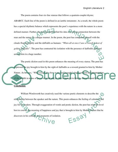 Critical analysis of a poem Essay Example | Topics and Well