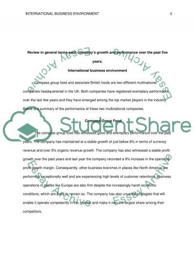 International Business Environment Assenment essay example