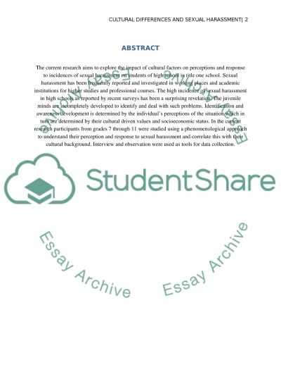 An Exploration of Cultural Differences in Perceptions of and Responses to Sexual Harassment in a Title One High School