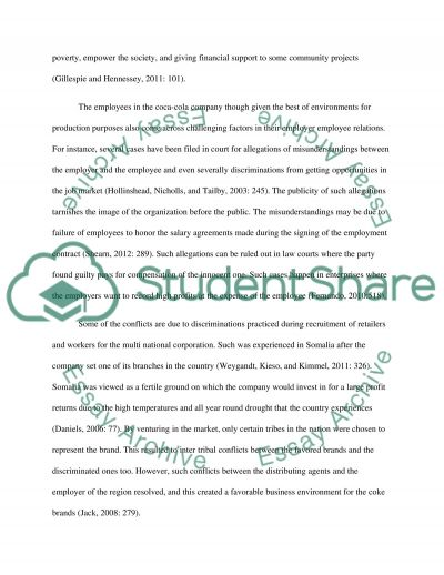 employer employee relations in coca cola essay example topics   text preview