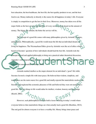 Good in Life Admission/Application Essay Example   Topics