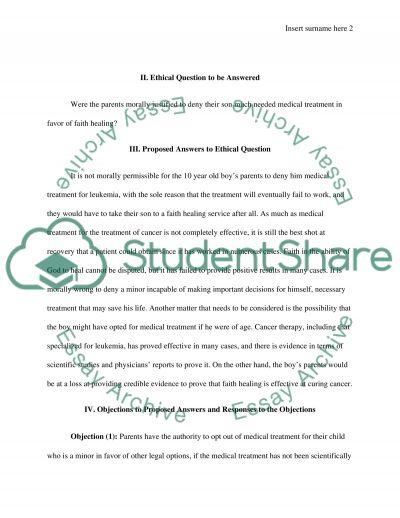 Faith healing case essay example
