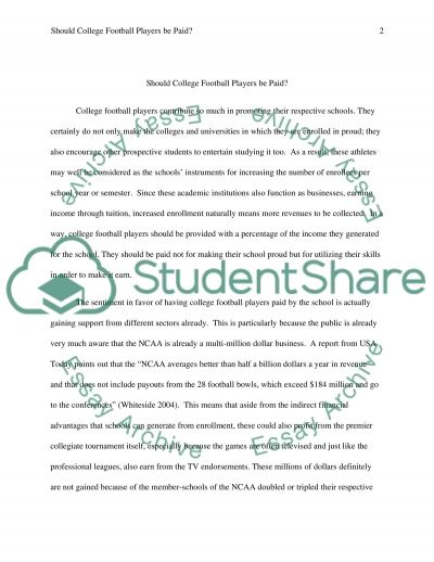 Should College Football Players be paid essay example