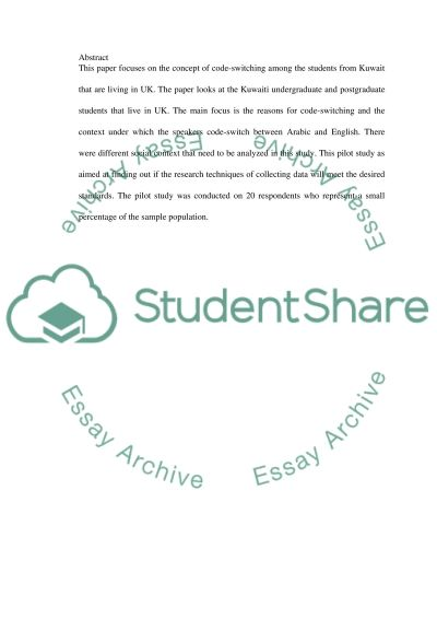 Code-switching Among Students in the UK essay example