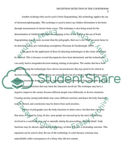 Examples Of A Proposal Essay Deception Detection In The Courtroom  Essay Example Healthy Mind In A Healthy Body Essay also English Essay Book Deception Detection In The Courtroom Essay Example  Topics And Well  Modest Proposal Essay Ideas
