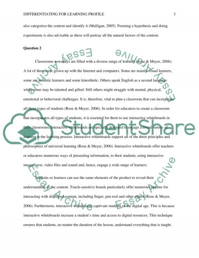 Differentiating for Learning Profile essay example