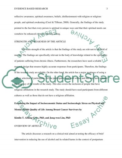 Evidence Based Research Research Proposal example