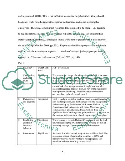 Auditing and Assurance (Individual Case Study Assignment)