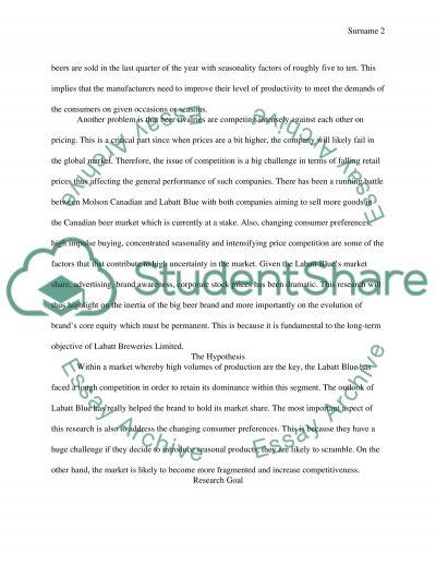 Labatt Blue Marketing Paper essay example