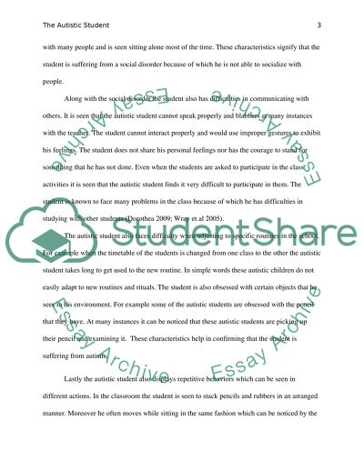 The Autistic Student Research Paper