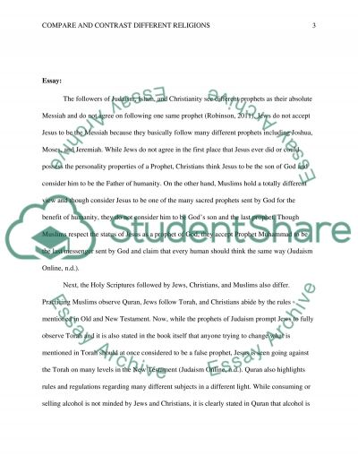 Comparing and Contrast Different Religions essay example