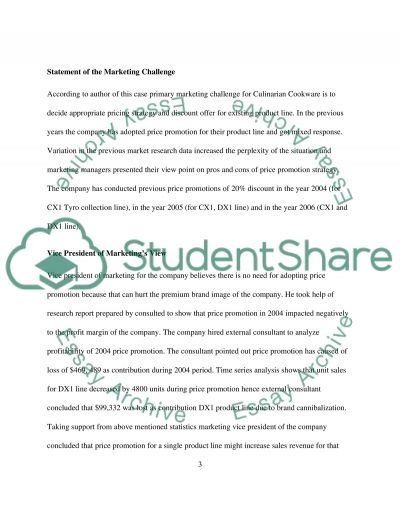 Case Study - Culinarian Cookware essay example