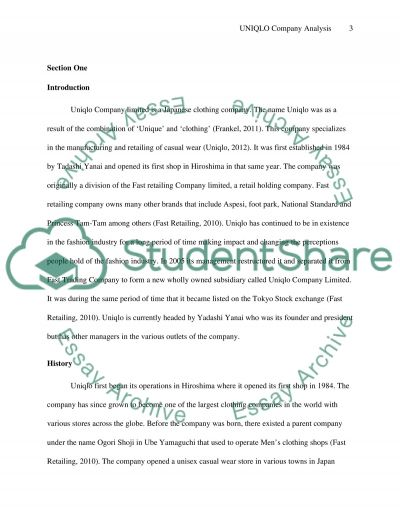 UNIQLO Company, Global Marketing Analysis essay example
