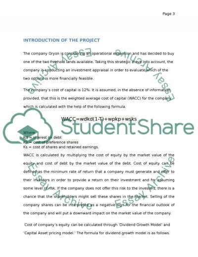 Investment Appraisal Project essay example