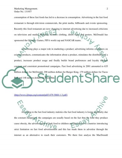Marketing Management. Fast food essay example