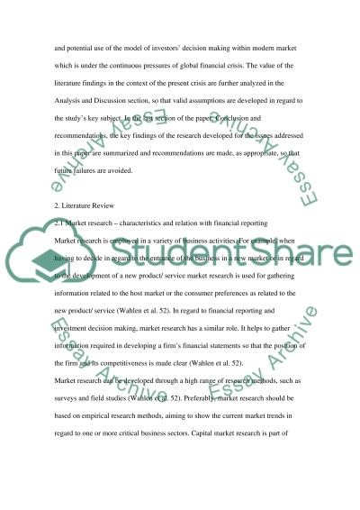 In the context of capital market research what is the importance of published financial information and the information content essay example