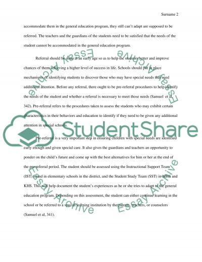 The Pre and Referral Process essay example
