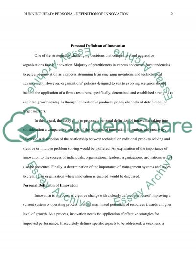 Personal Definition of Innovation essay example