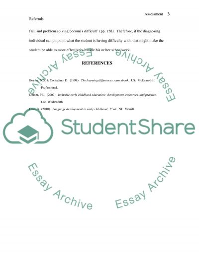 Assessment Referrals essay example