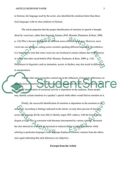 Article response paper