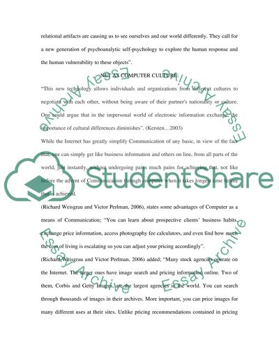 Computer Culture Essay Example | Topics and Well Written