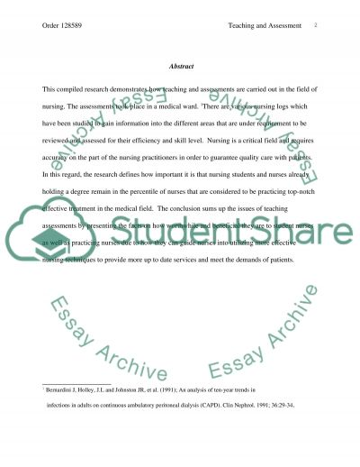 Teaching and Assessing essay example