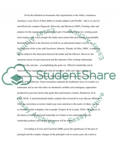 Transformational Leadership and Risk Taking to Improve Student Achievement essay example