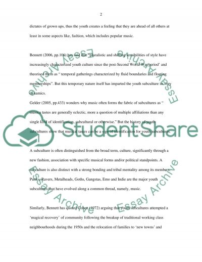 Subcultures essay example