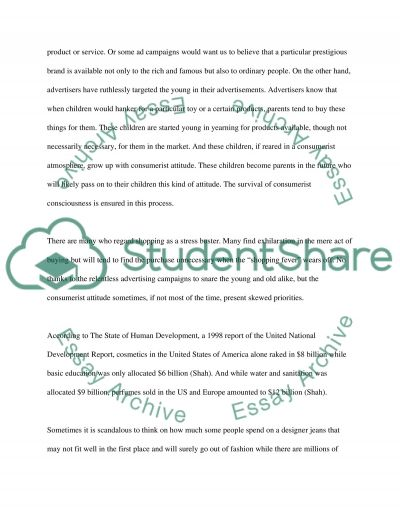 Consuming want  Essay example