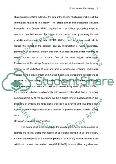 Environmental Permitting Regulations Essay example