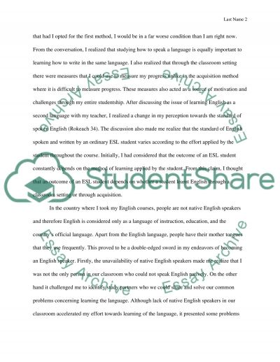 Learning English as a Second language essay example