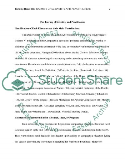 The Journey of Scientists and Practitioners essay example