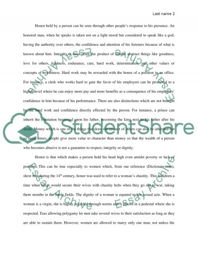 Definition Paper The Word Is Honor Essay Example Topics And Well