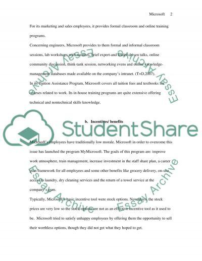 Microsoft Motivational Strategies essay example