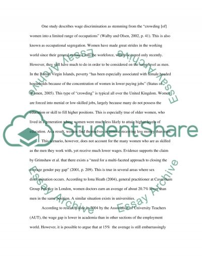 The equal pay for men and women essay example