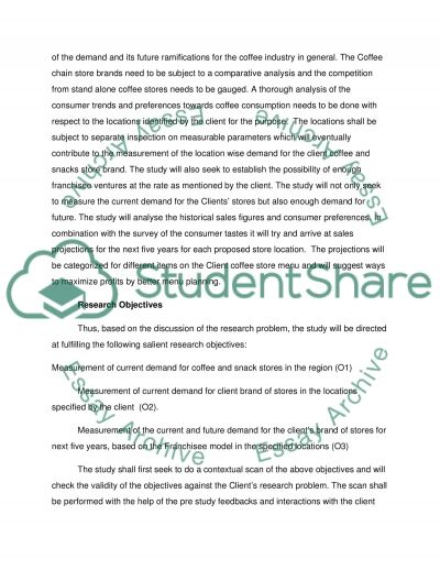 Marketing Research Proposal for a Study about Determination of Coffee Shop Franchisee Business in Western Australia essay example