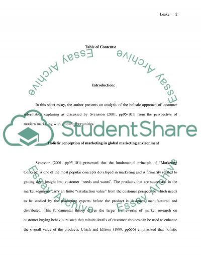 Holistic Conception of Marketing essay example