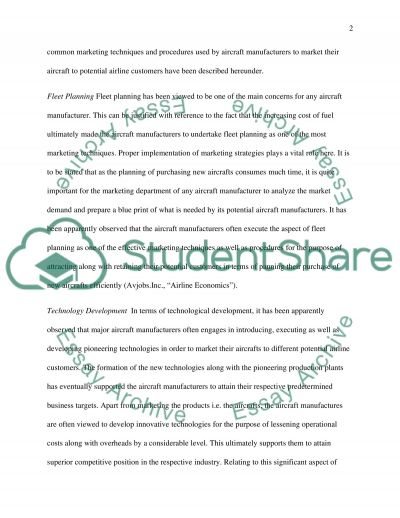Commercial Aircraft Marketing to Carriers essay example