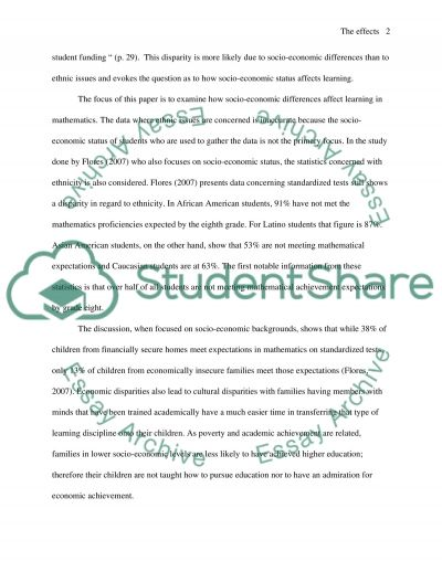 The effects of poverty in the development of childrens thinking related to mathematics essay example