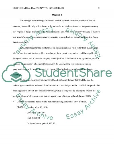 Derivatives and Alternative Investments essay example
