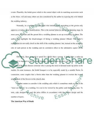 Mid term paper comapring and constrasting one perfect day and  the ameican way of death essay example