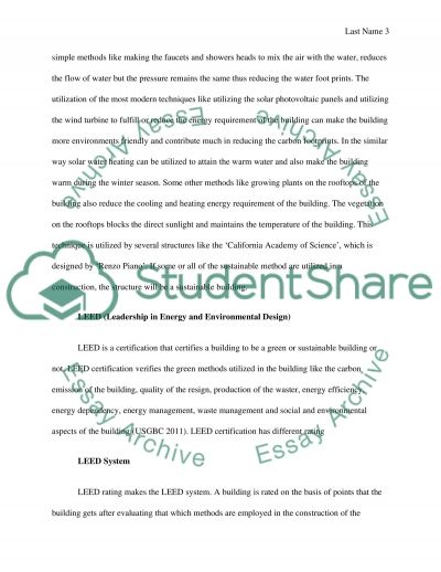 Sustainable building essay example