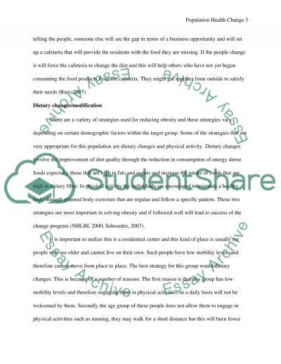 Population Health Change Paper essay example