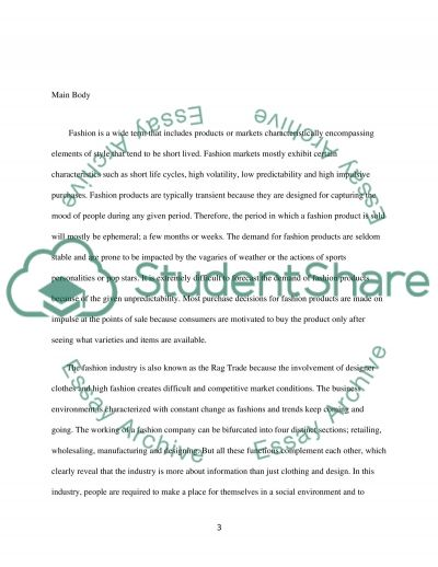 Fashion industry placement report Essay example