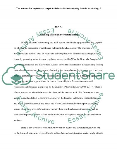 The Information Asymmetry, Corporate Failures in Contemporary Issue in Accounting essay example