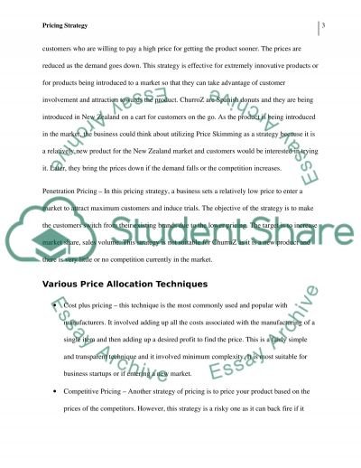 Pricing Strategy: ChurroZ essay example