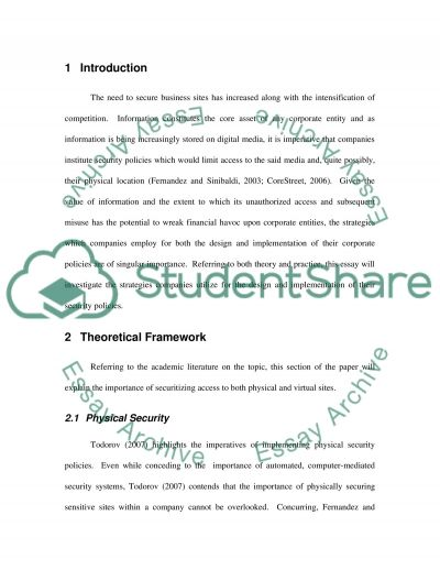 Corporate Security Policies Essay example