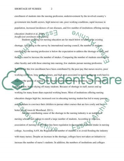 Shortage of Nurses essay example