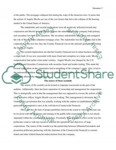 Recent incidences of corporate or banking scandals essay example