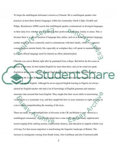 A narrative account of a multilingual informant essay example